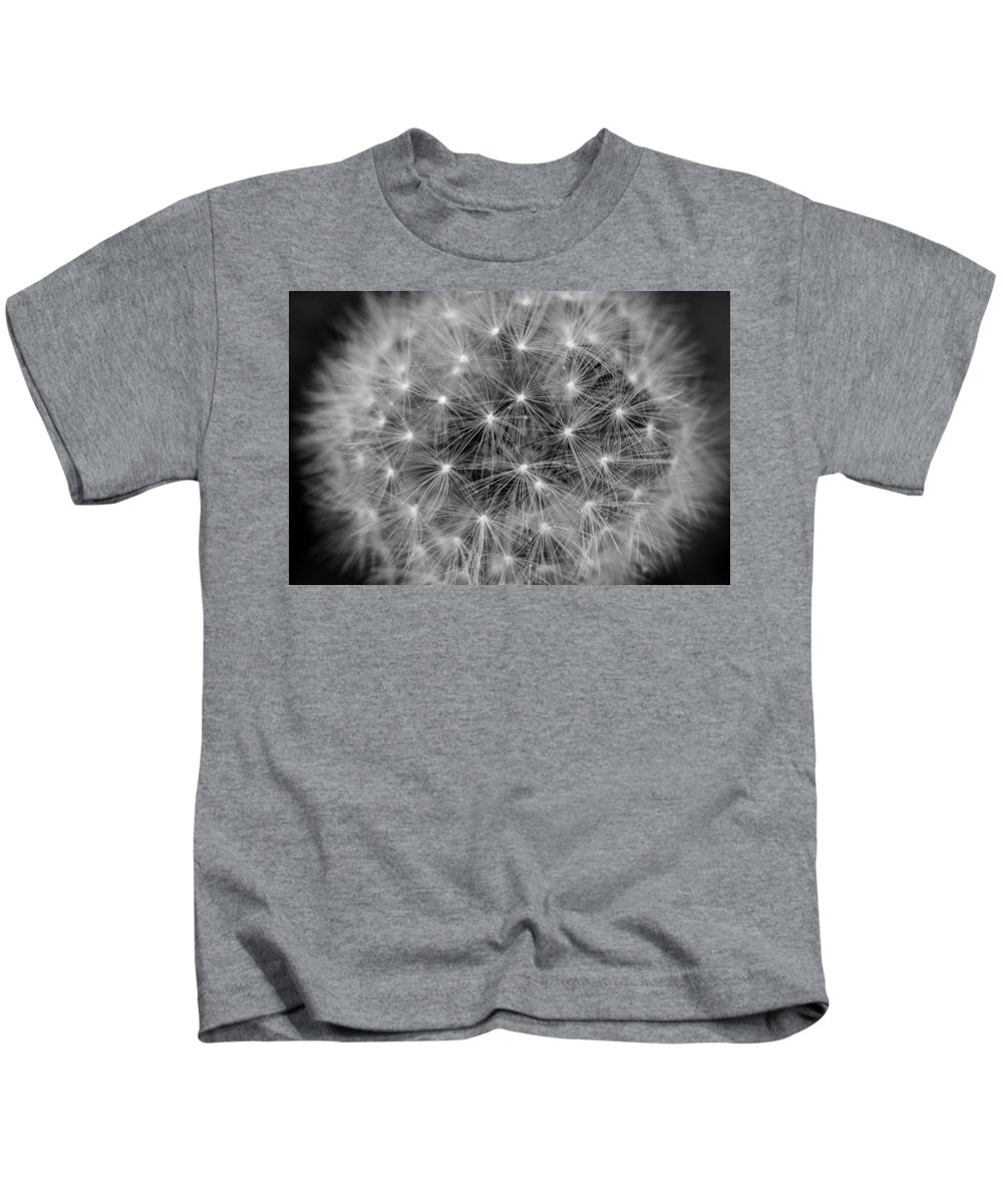 Dandelion Kids T-Shirt featuring the photograph Fuzzy - Black And White by Angela Rath