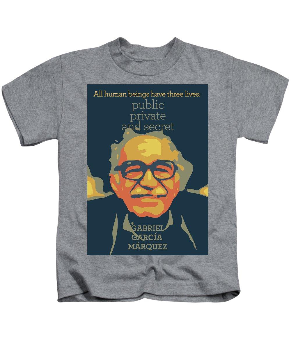 Gabriel Garcia Marquez Kids T-Shirt featuring the digital art Gabriel Garcia Marquez by Greatom London