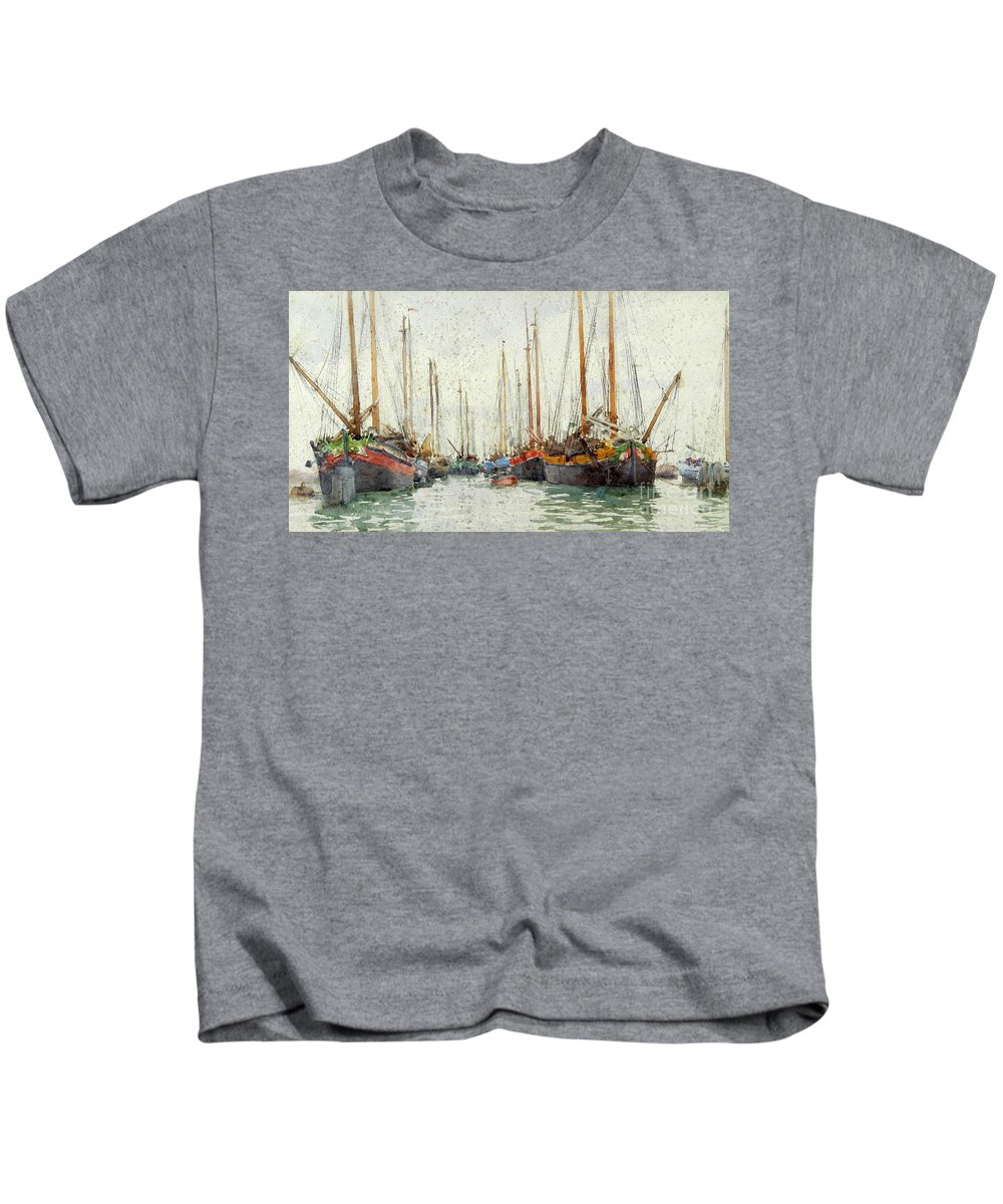 Henry Scott Tuke - Gaily Coloured Fishing Vessels Kids T-Shirt featuring the painting Gaily Coloured Fishing Vessels by MotionAge Designs