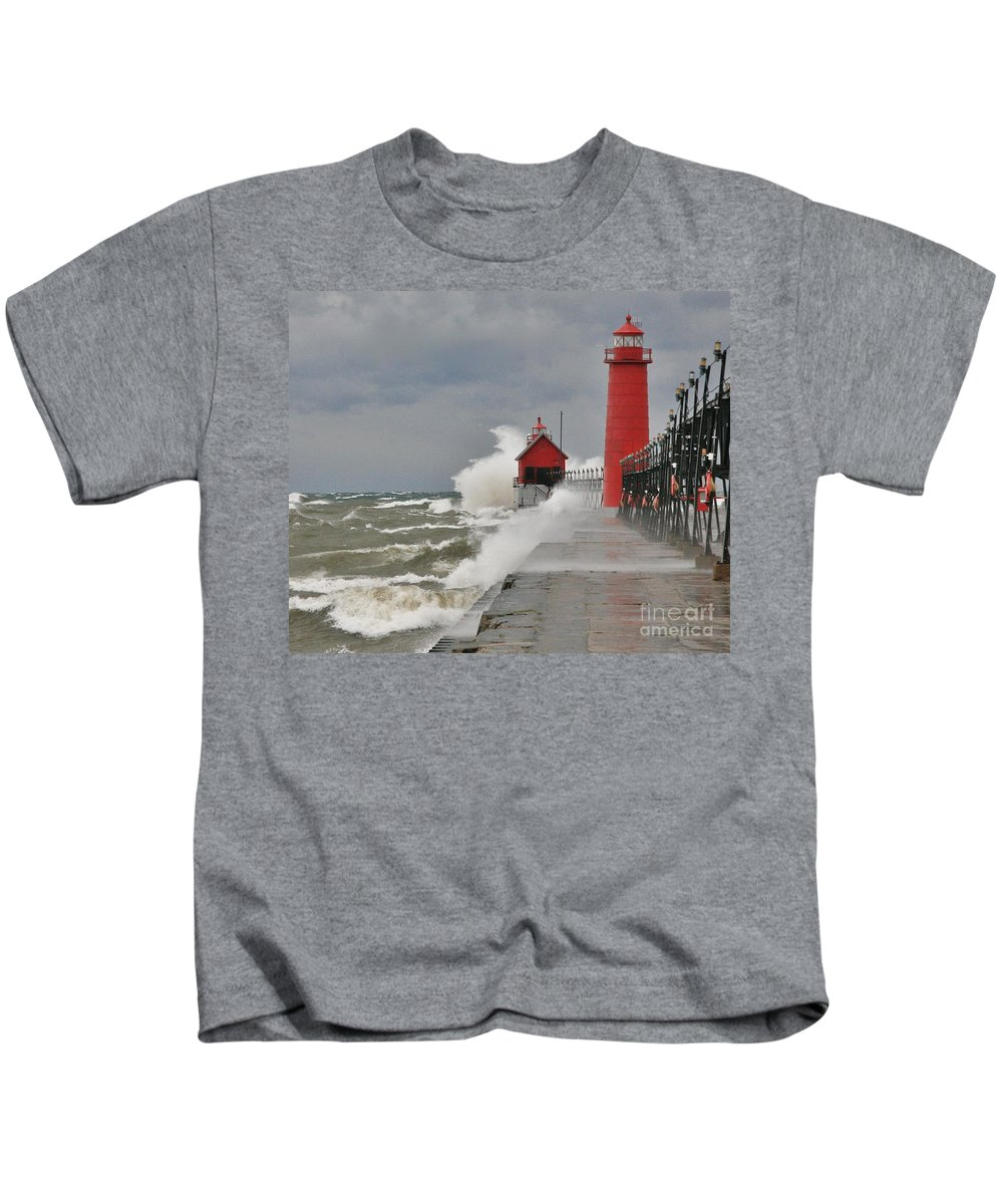 Light House Kids T-Shirt featuring the photograph Gale Warnings by Robert Pearson