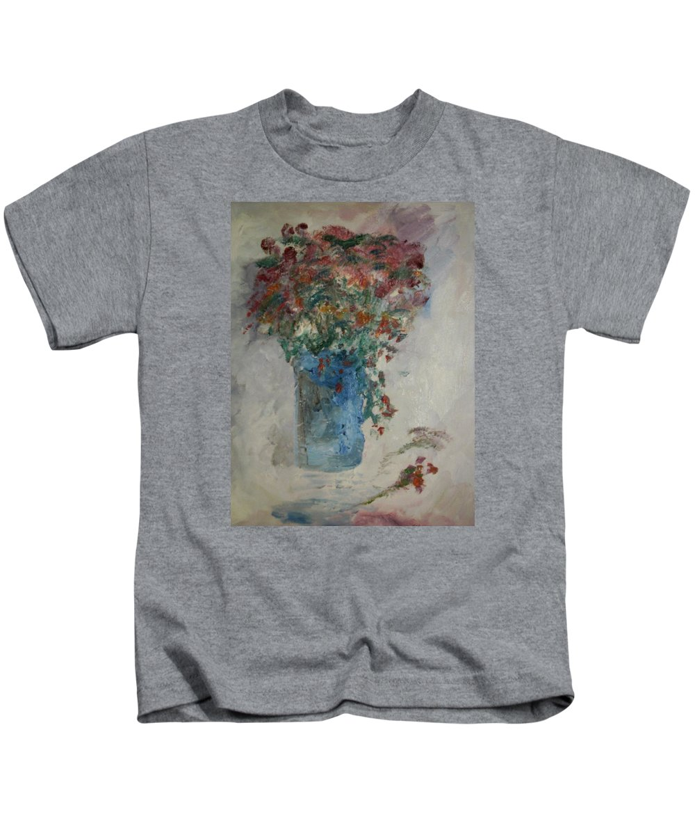 Still Life Kids T-Shirt featuring the painting Gallon Can Florals by Edward Wolverton