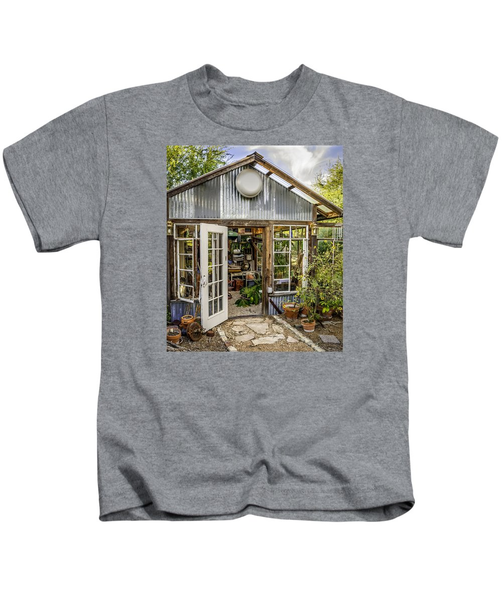 Garden Shed Kids T-Shirt featuring the photograph Garden Shed by Jim Collier