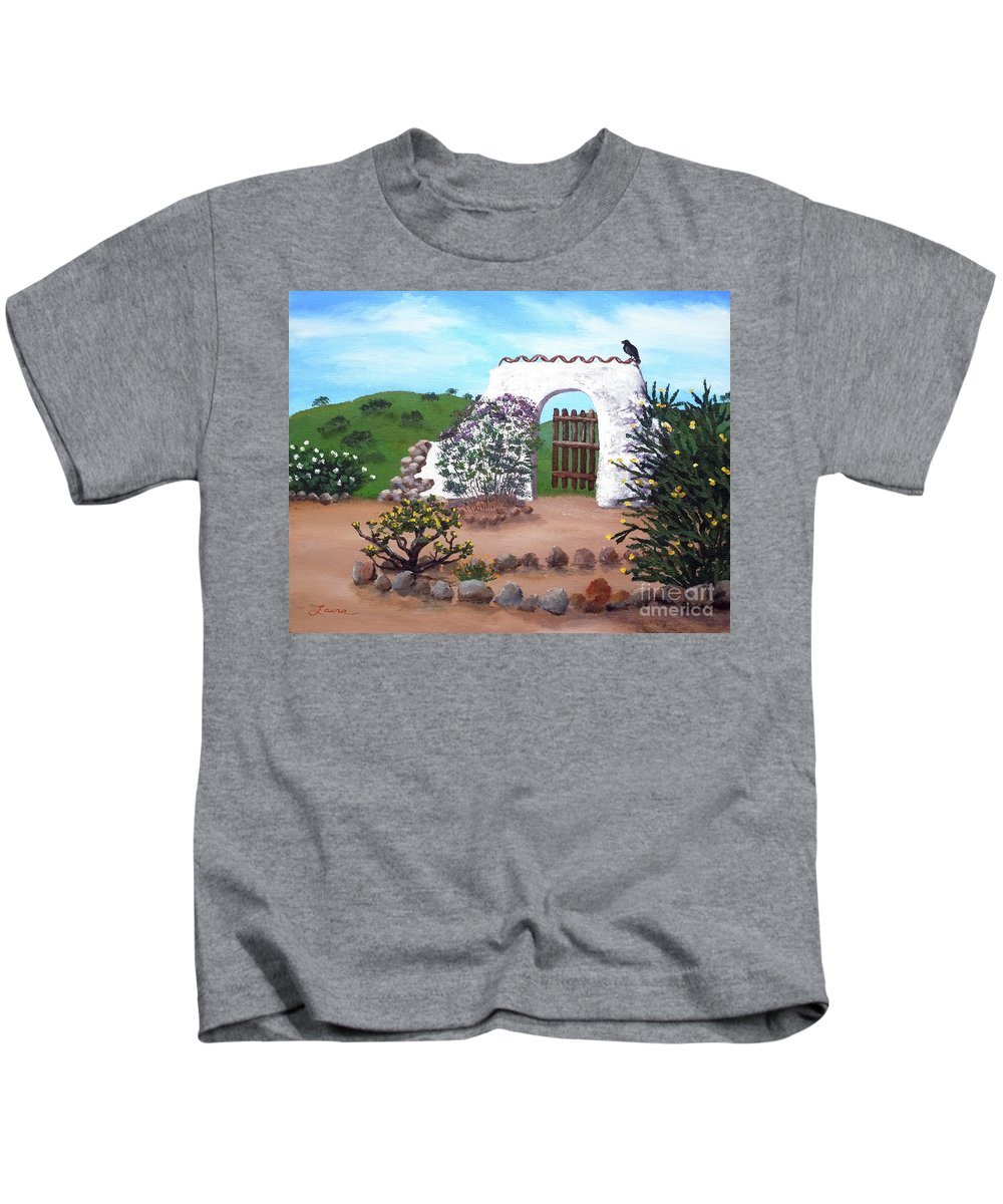 California Kids T-Shirt featuring the painting Gate To Nowhere by Laura Iverson