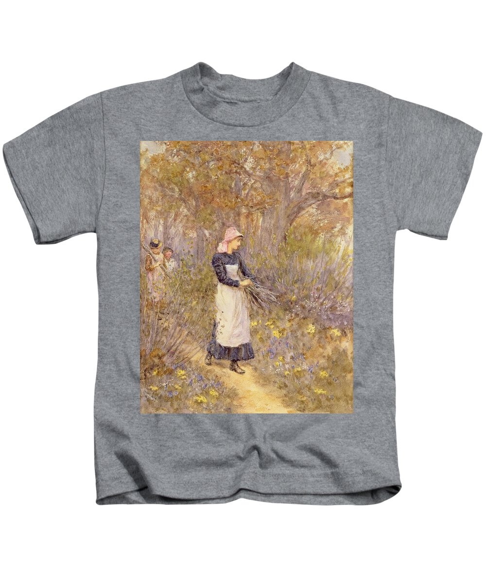 Female; Girl; Pinny; Pinafore; Apron; Collecting; Path; Branches; Chore; Task; Three Children; Headscarf Kids T-Shirt featuring the painting Gathering Wood For Mother by Helen Allingham