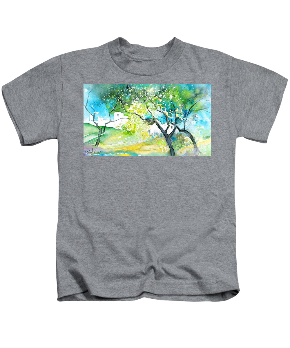 Spain Painting Water Colour Sketch Travel Gatova Kids T-Shirt featuring the painting Gatova Spain 04 by Miki De Goodaboom