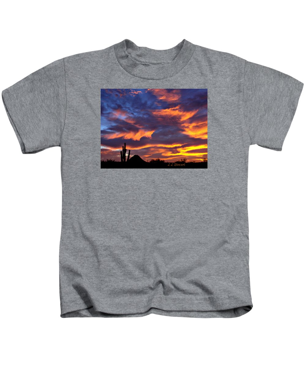 Arizona Kids T-Shirt featuring the photograph Gavilan Peak With Painted Sky by L L Stewart