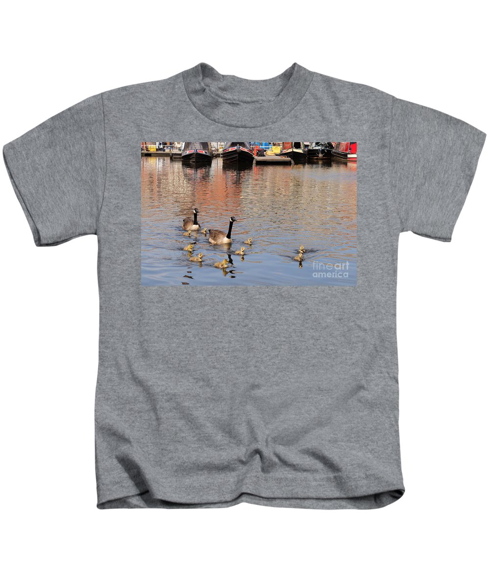 Geese Kids T-Shirt featuring the photograph Gees And Goslings 2 by John Chatterley