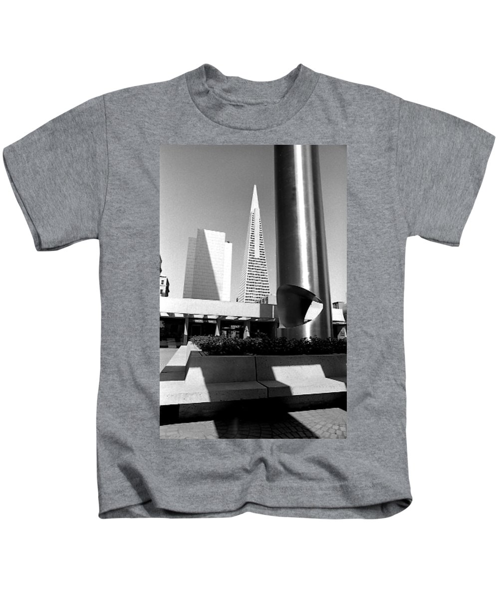 Cityscapes Kids T-Shirt featuring the photograph Geometry In Action by Norman Andrus