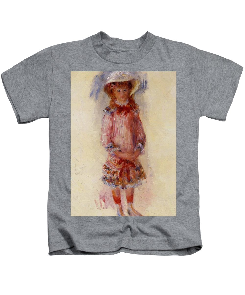 Georgette Kids T-Shirt featuring the painting Georgette Charpentier Standing 1880 by Renoir PierreAuguste