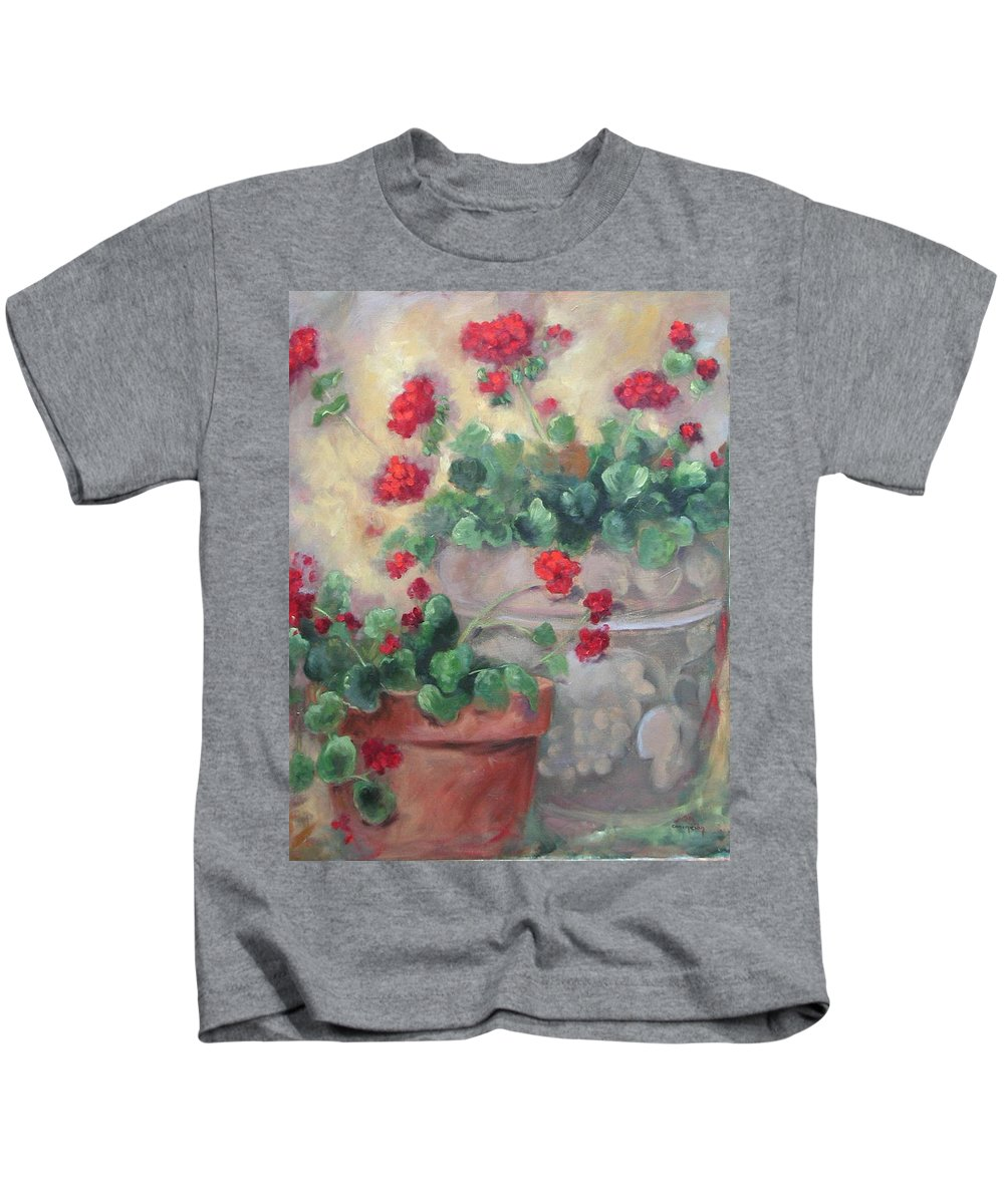 Geraniums Kids T-Shirt featuring the painting Geraniums by Ginger Concepcion