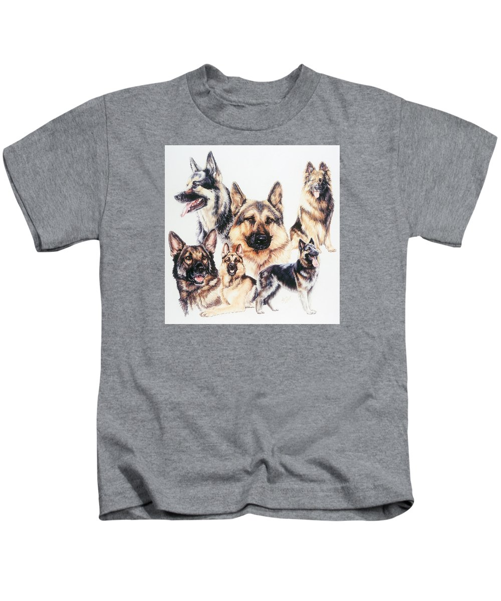 Herding Group Kids T-Shirt featuring the drawing German Shepherds by Barbara Keith