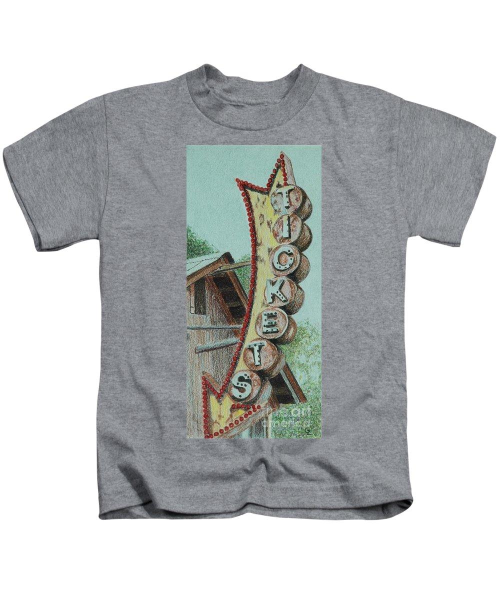 Sign Kids T-Shirt featuring the drawing Get Yer Tickets by Glenda Zuckerman