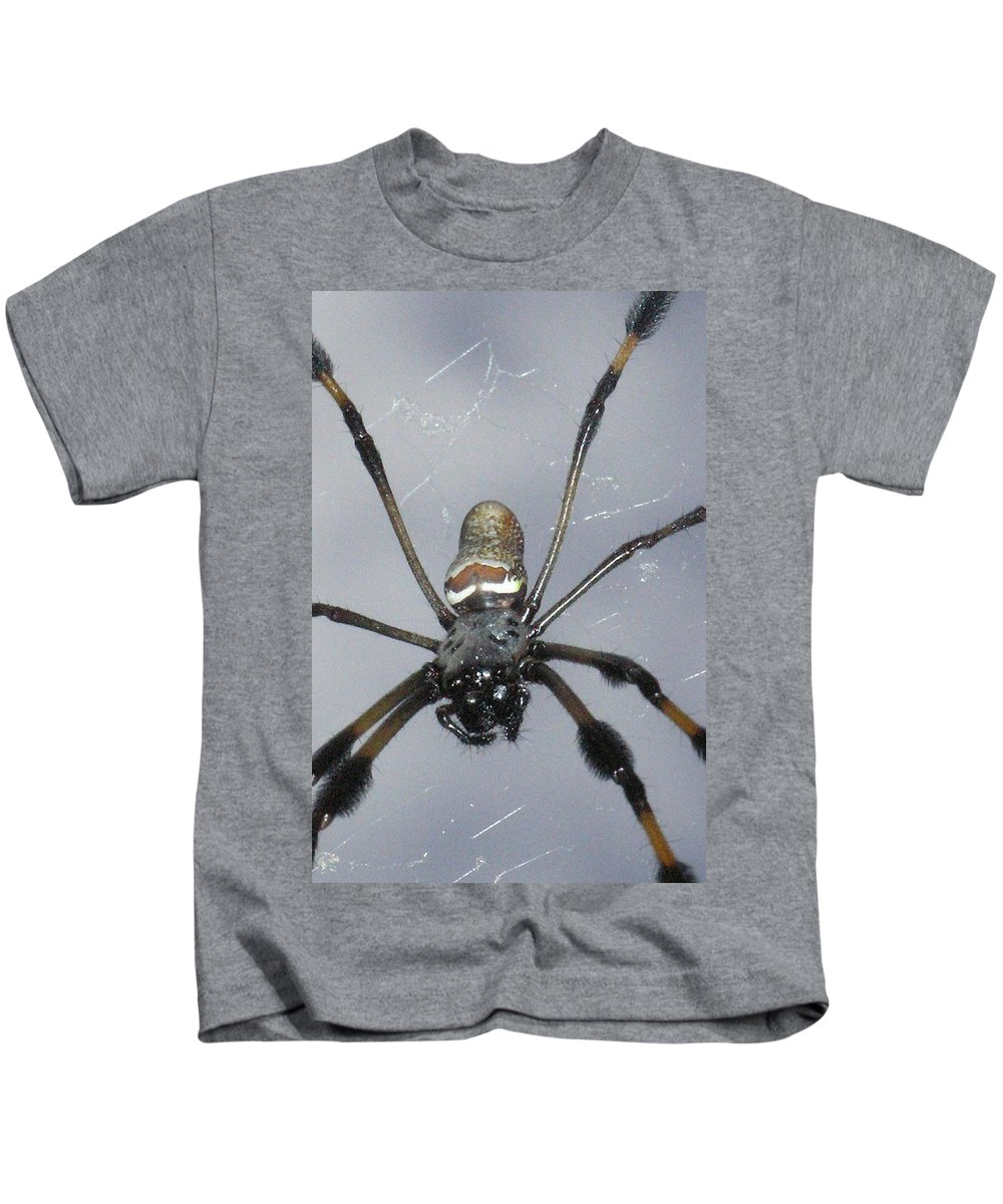 Nature Kids T-Shirt featuring the photograph Getting To Know A Golden Orb Weaver by Kimberly Mohlenhoff