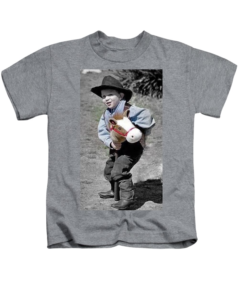 Stick Horse Kids T-Shirt featuring the photograph Getty Up by Cindy New