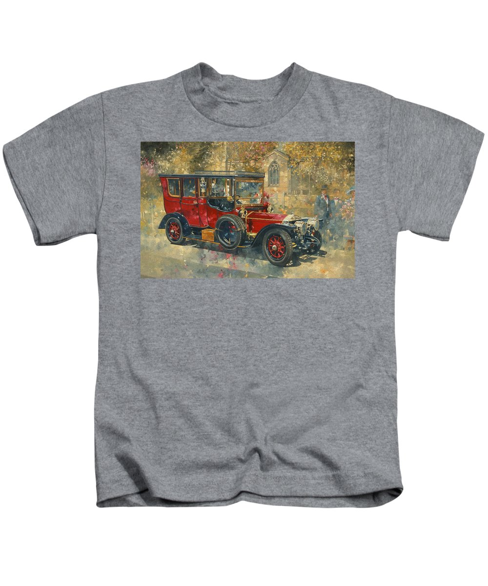 Phantom; Rolls Royce; Car; Vehicle; Vintage; Automobile; Event; Occasion; Church; Countryside; Marriage; Wedding; Rural; Classic Cars; Vintage Car; Red Car; Old Timer. Car Kids T-Shirt featuring the painting Ghost - Hawton by Peter Miller