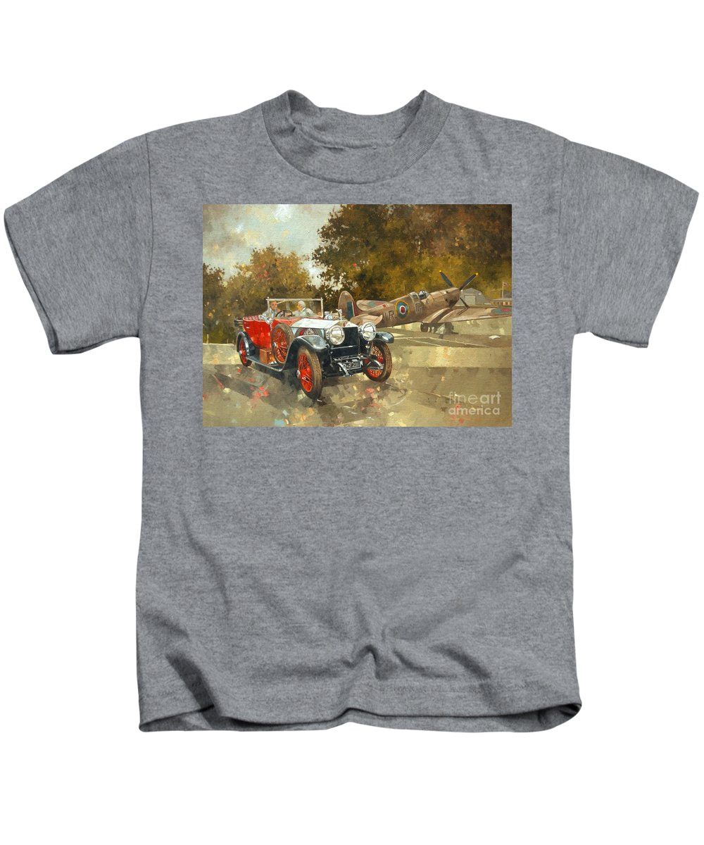 Rolls Royce; Car; Vehicle; Vintage; Automobile; Airplane; Aeroplane; Plane; Aircraft; Raf; Royal Air Force; Spitfire; Classic Car; Old Timer Kids T-Shirt featuring the painting Ghost And Spitfire by Peter Miller