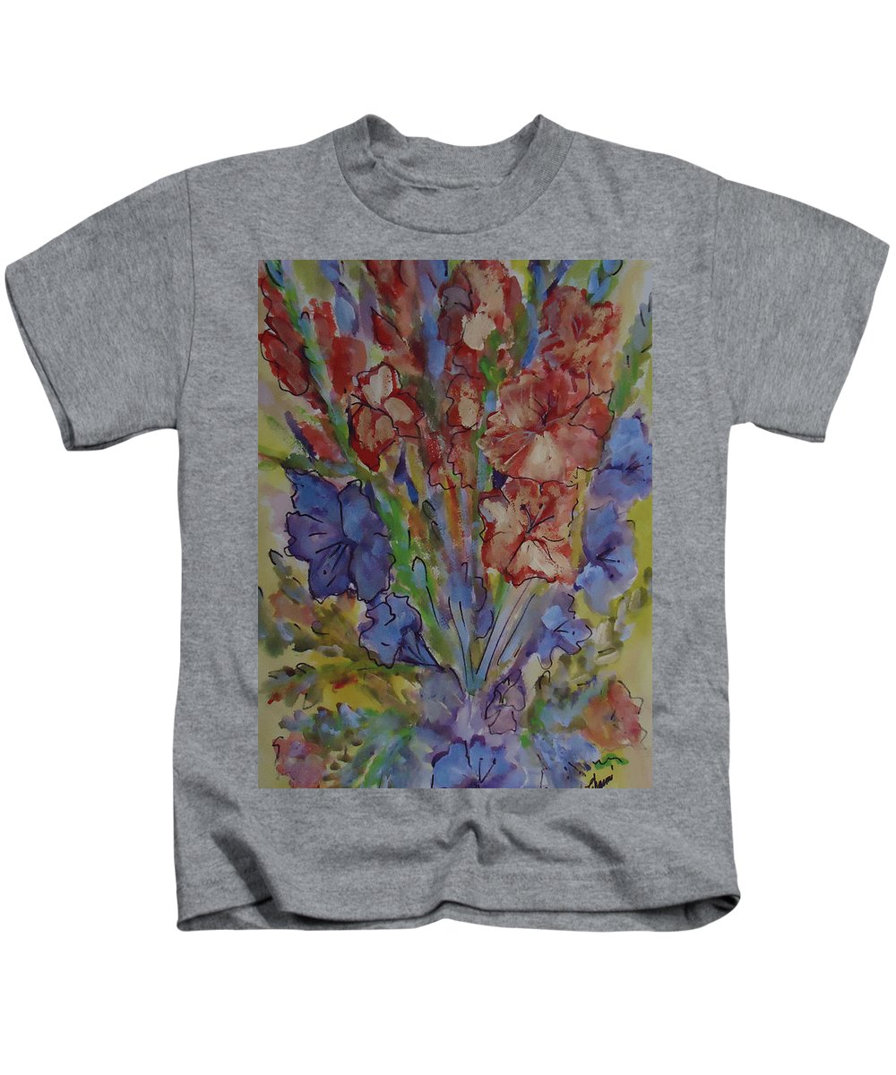 A Bouquet Of Mixed Flowers Kids T-Shirt featuring the mixed media Gilded Flowers by Charme Curtin