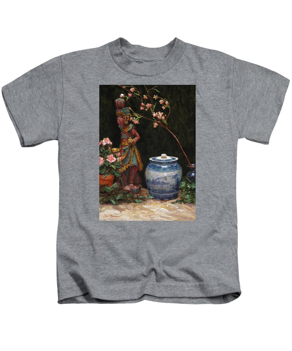 Still Life Kids T-Shirt featuring the painting Ginger Jar by Ron Barsano