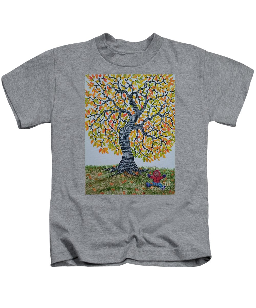 Girl Kids T-Shirt featuring the painting Girl And Leafs by Nick Gustafson