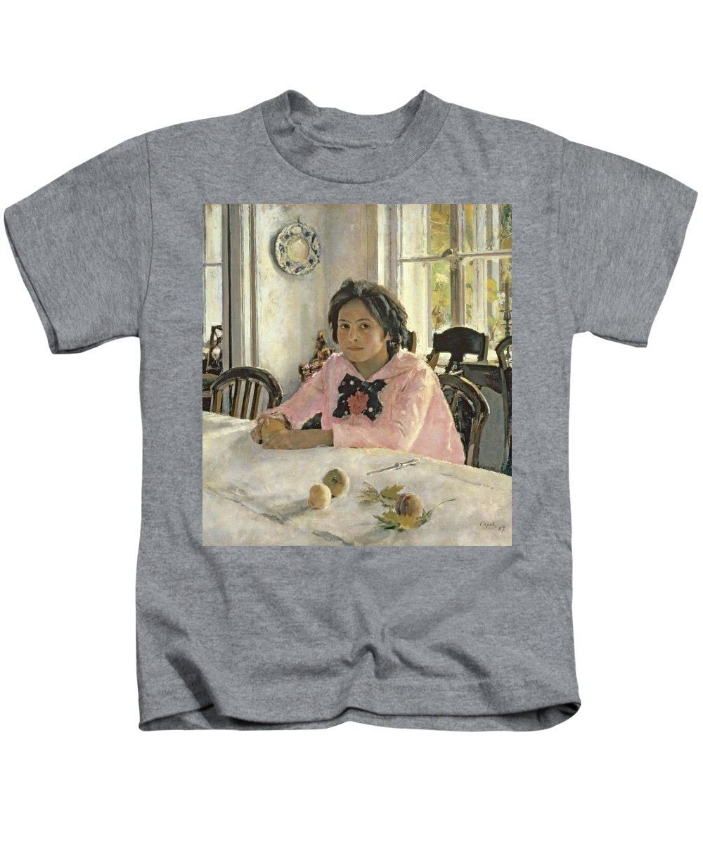 Girl Kids T-Shirt featuring the painting Girl With Peaches by Valentin Aleksandrovich Serov