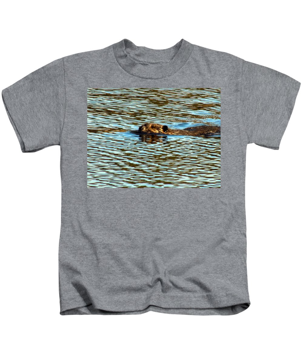 Beaver Kids T-Shirt featuring the photograph A Swim By by William Tasker