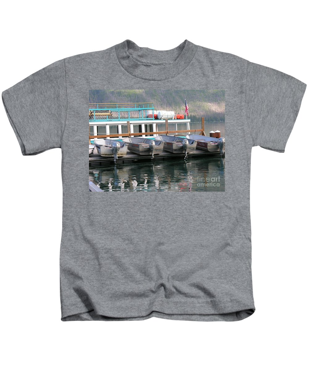 Boats Kids T-Shirt featuring the photograph Glacier Boating by Diane Greco-Lesser