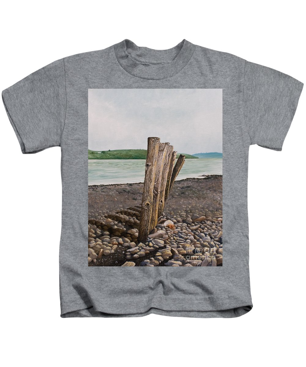 Landscape Beach Stones River Shannon Glin Wood Breakers Clare Shadows Kids T-Shirt featuring the painting Glin Beach Breakers by Pauline Sharp