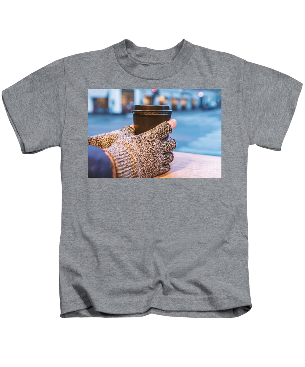 Coffee Kids T-Shirt featuring the photograph Gloved Hands Holding Coffee Cup by Sophie McAulay