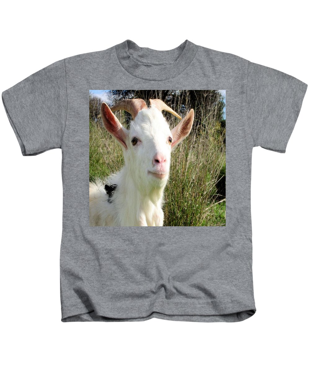 Goat Kids T-Shirt featuring the painting Goat Portrait by Taiche Acrylic Art