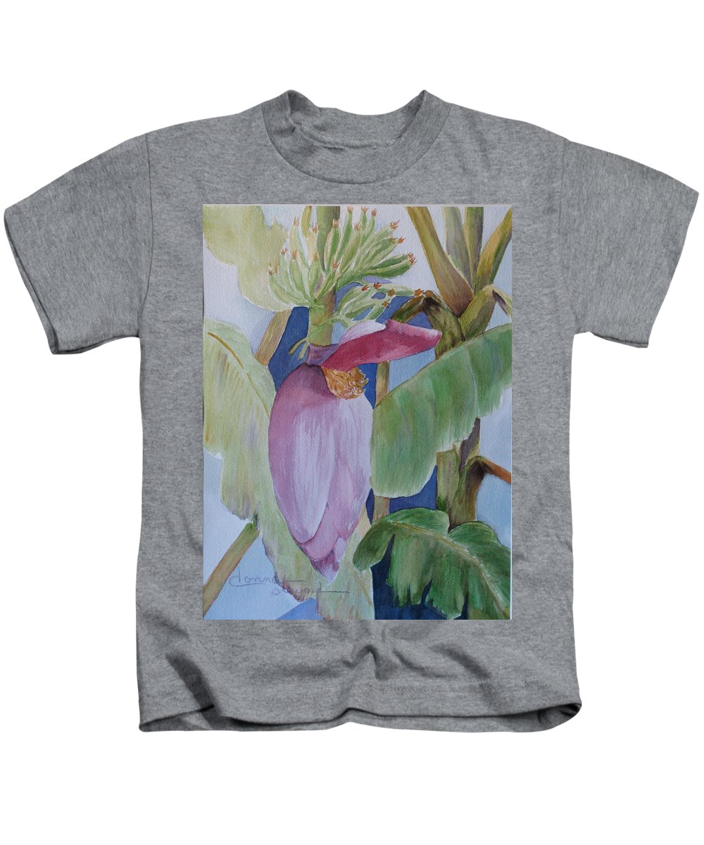 Bananas Kids T-Shirt featuring the painting Going Bananas by Donna Steward