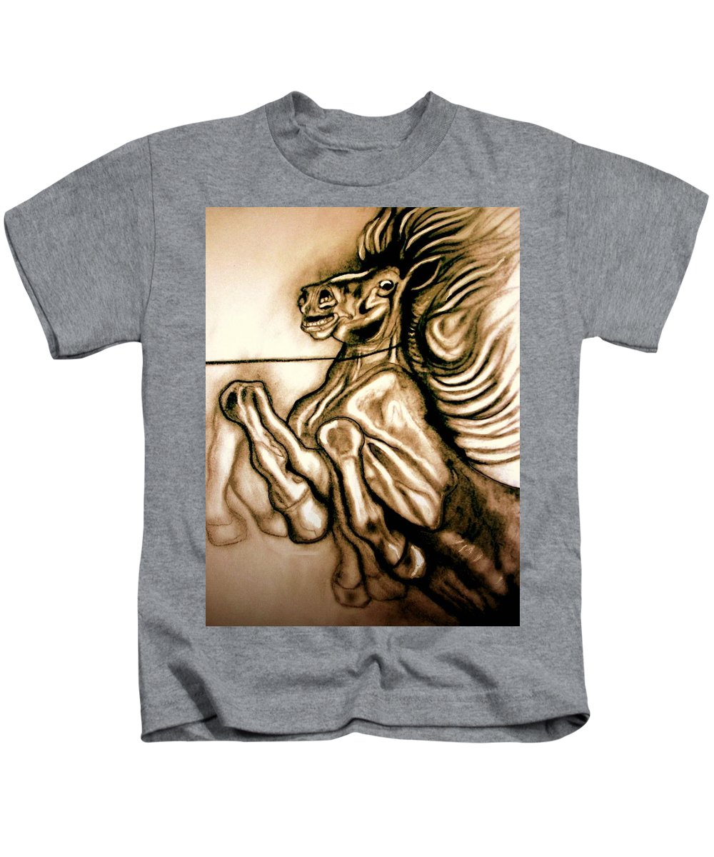 Horse Kids T-Shirt featuring the painting Going Down Fighting by Herbert Renard