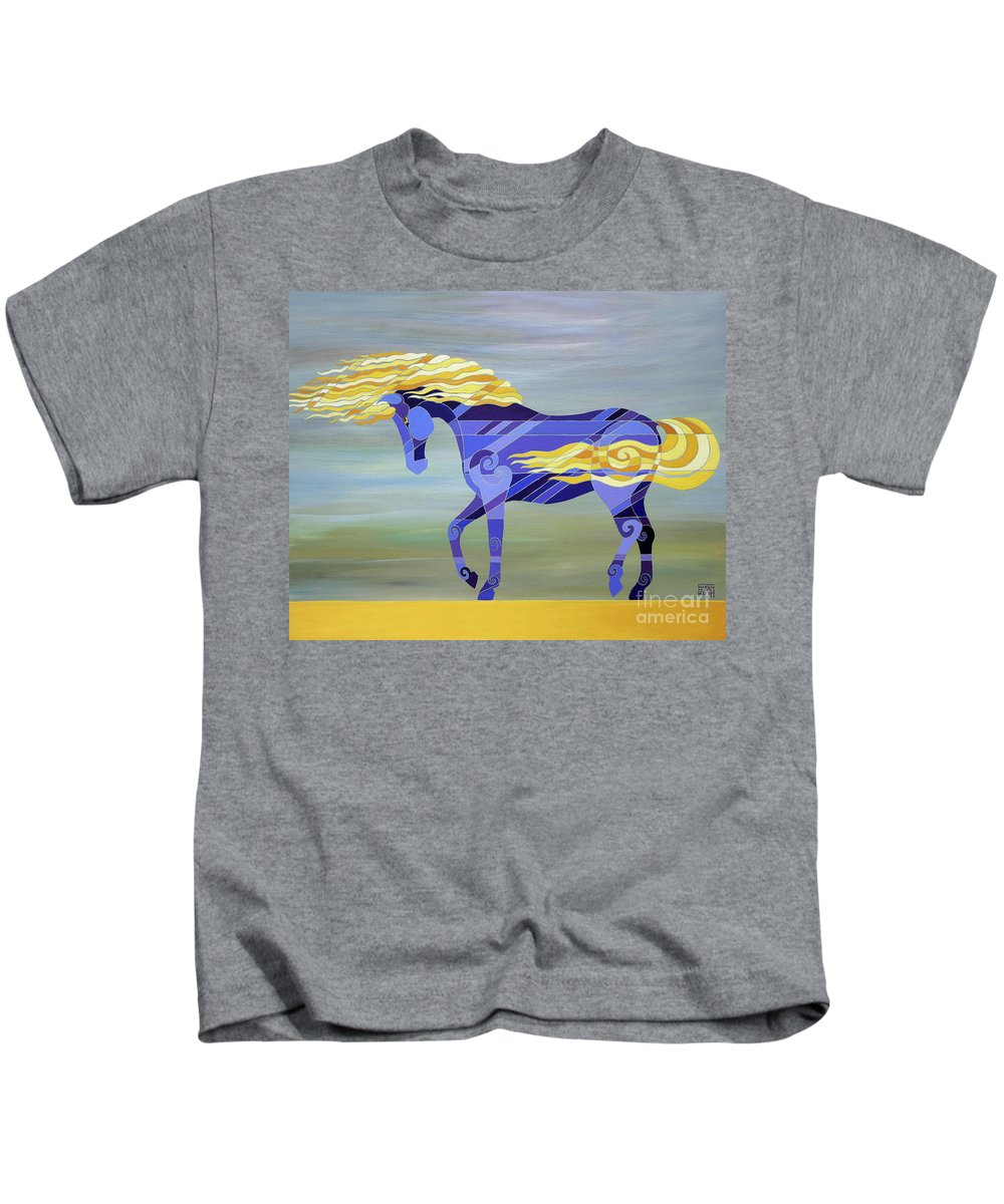 Horse Kids T-Shirt featuring the painting Going With The Flow by Barbara Rush