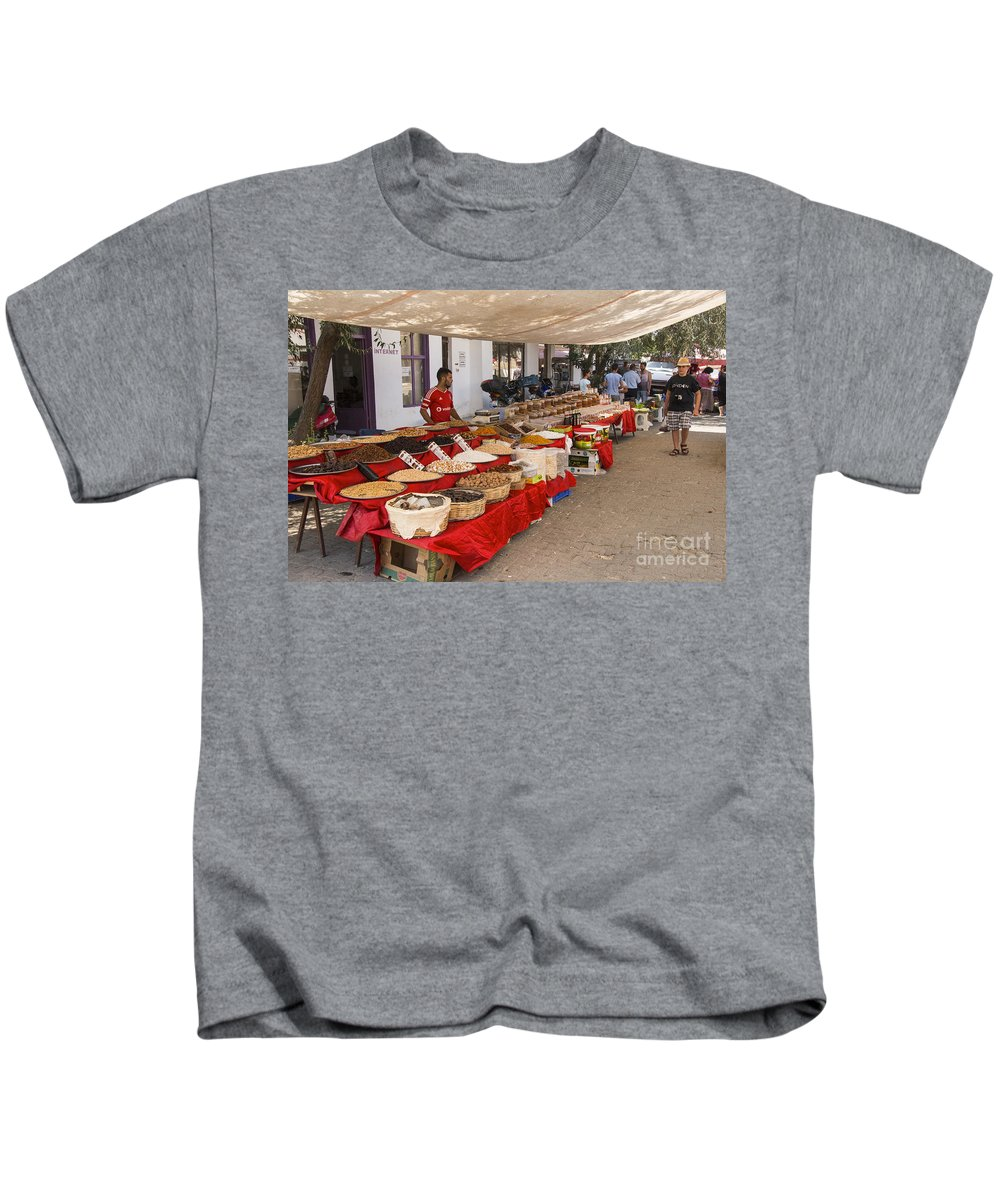 Merkezi Gokceada Island Kids T-Shirt featuring the photograph Gokceada Market Day by Bob Phillips