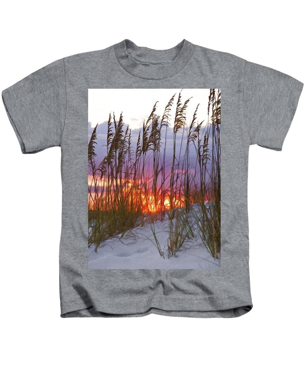 Sea Oats Kids T-Shirt featuring the photograph Golden Amber by Janet Fikar