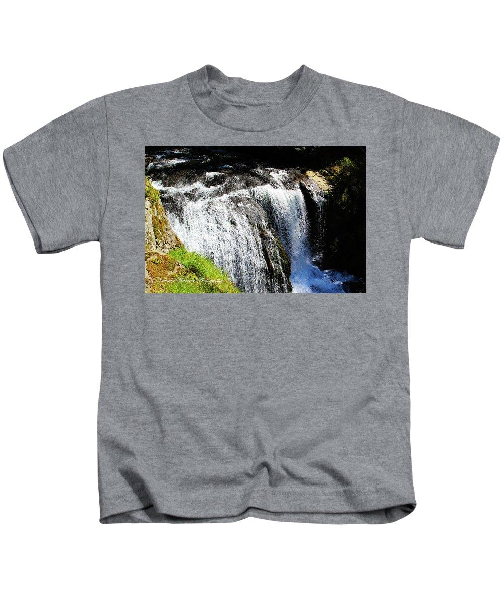 Golden Falls Kids T-Shirt featuring the photograph Golden Falls, Oregon by Adam Norman