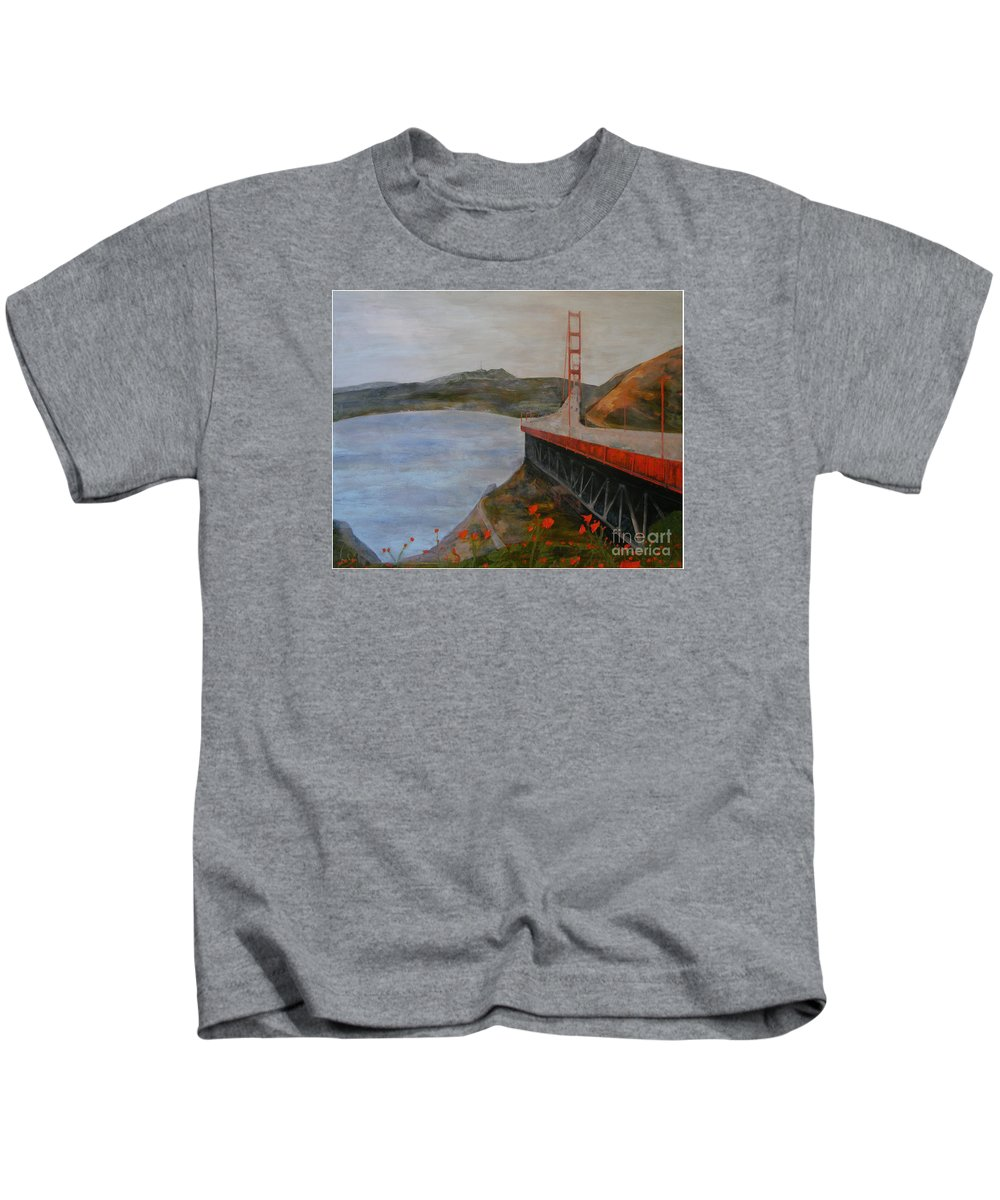 Golden Gate Bridge Kids T-Shirt featuring the painting Golden Gate Bridge by Ellen Beauregard