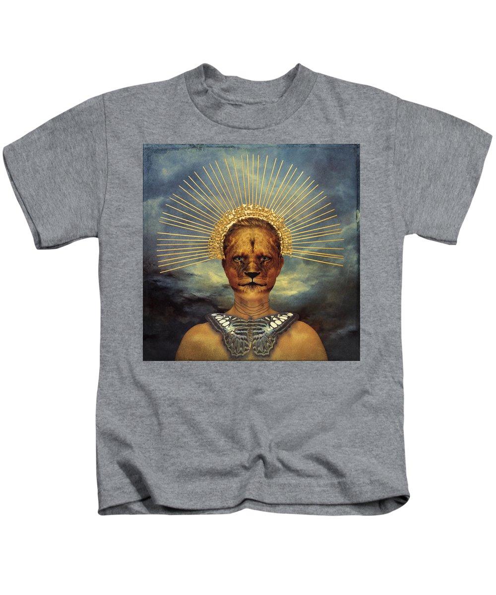 Gold Kids T-Shirt featuring the photograph Golden Jungle Queen by Cactus Sun Studio