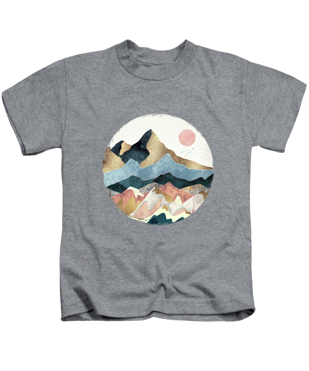 Gold Kids T-Shirt featuring the digital art Golden Peaks by Spacefrog Designs