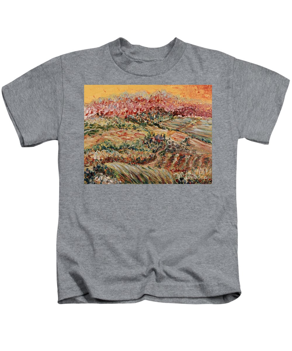 Provence Kids T-Shirt featuring the painting Golden Provence by Nadine Rippelmeyer