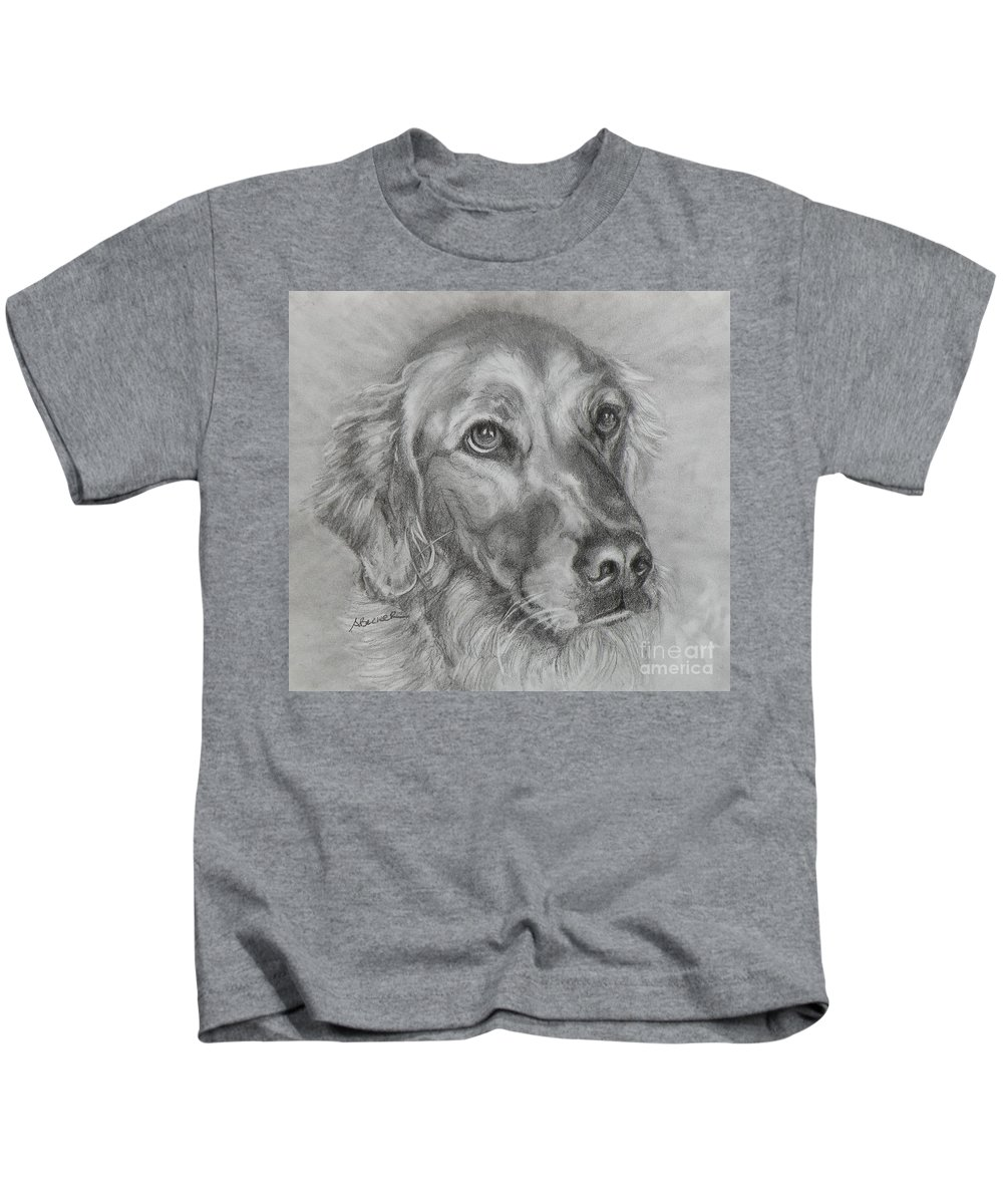 Dogs Kids T-Shirt featuring the painting Golden Retriever Drawing by Susan A Becker