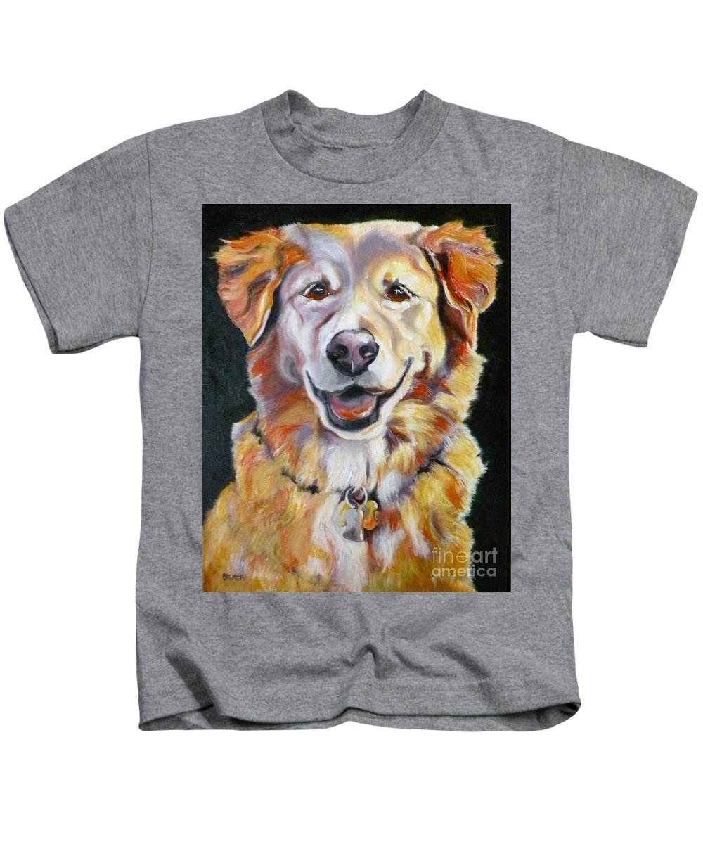 Dogs Kids T-Shirt featuring the painting Golden Retriever Most Huggable by Susan A Becker