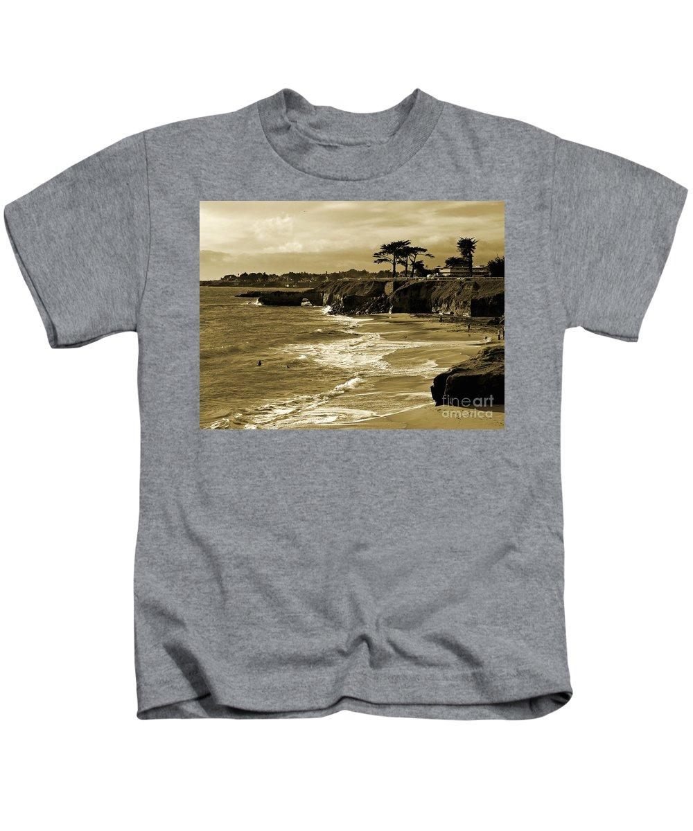 Santa Cruz Kids T-Shirt featuring the photograph Golden Santa Cruz Beach by Carol Groenen