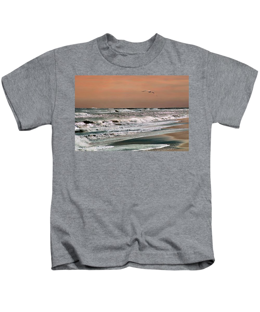 Seascape Kids T-Shirt featuring the photograph Golden Shore by Steve Karol