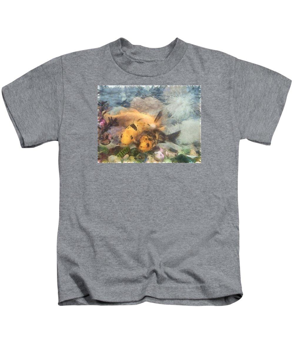 Aquarium Kids T-Shirt featuring the photograph Goldfish In An Aquarium by Ashish Agarwal