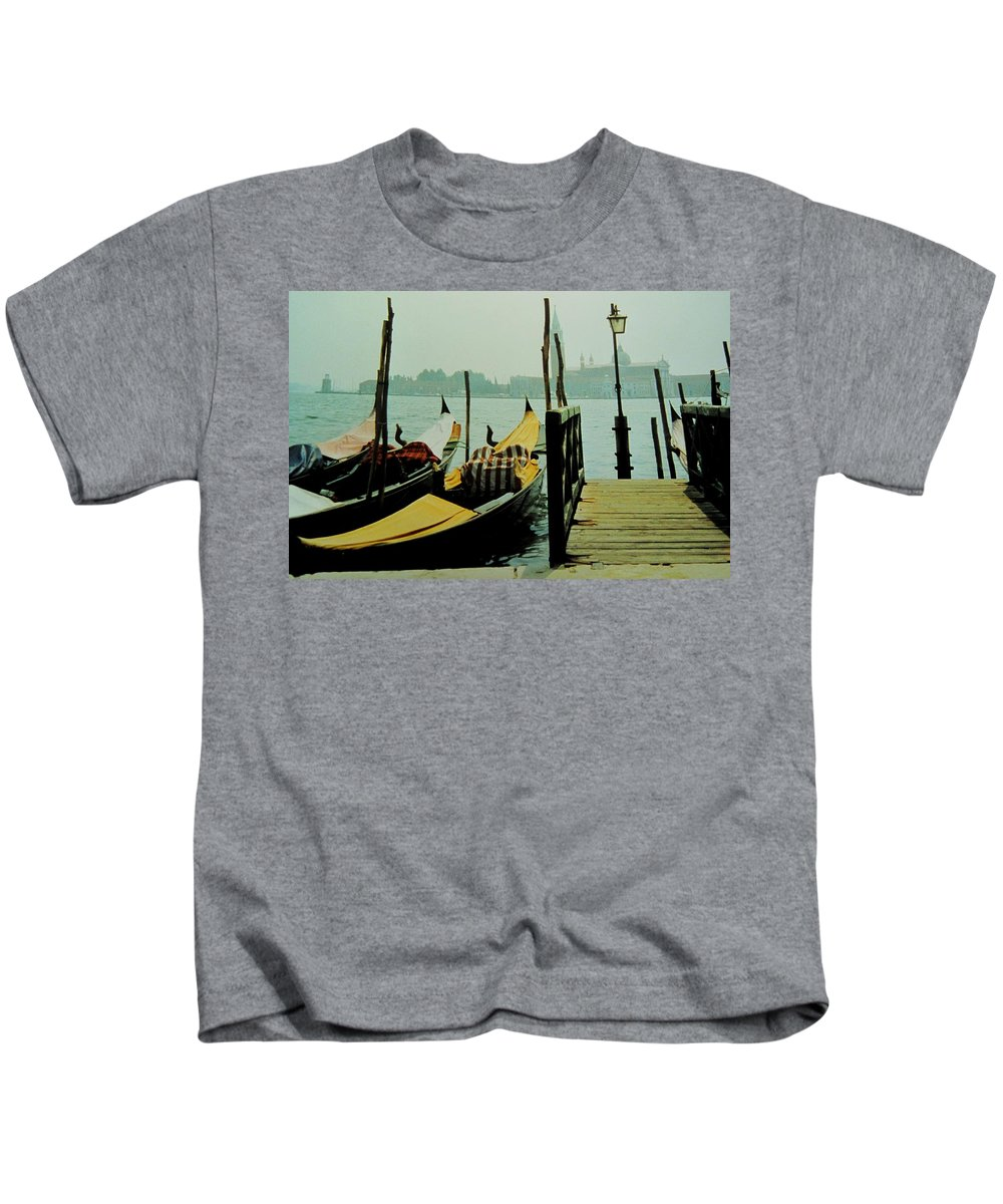 Venice Kids T-Shirt featuring the photograph Gondolas by Ian MacDonald
