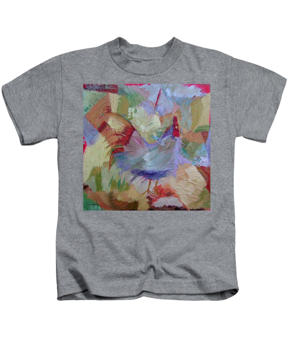 Chicken Paintings Kids T-Shirt featuring the painting Good Morning by Ginger Concepcion