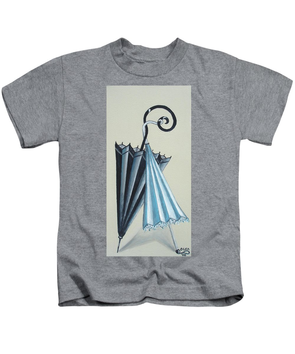 Umbrellas Kids T-Shirt featuring the painting Goog Morning by Olga Alexeeva
