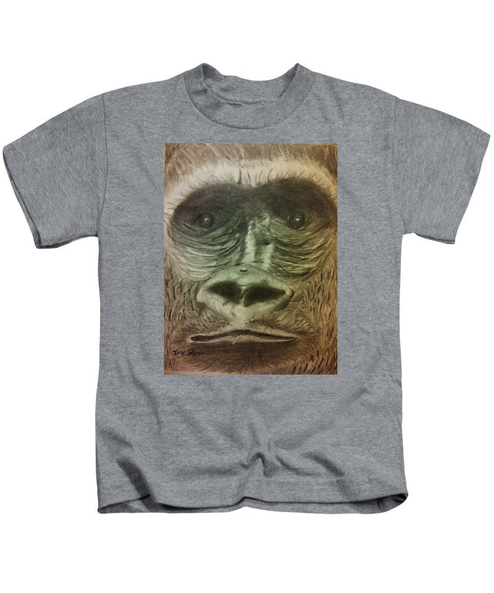 Greeting Card Kids T-Shirt featuring the drawing Gorilla In The Zoo by Irving Starr