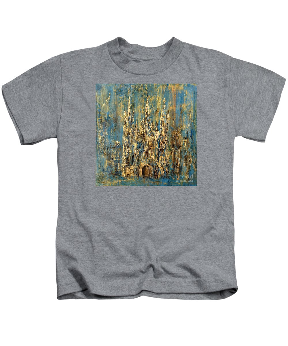 Church Kids T-Shirt featuring the painting Gothic Church by Arturas Slapsys