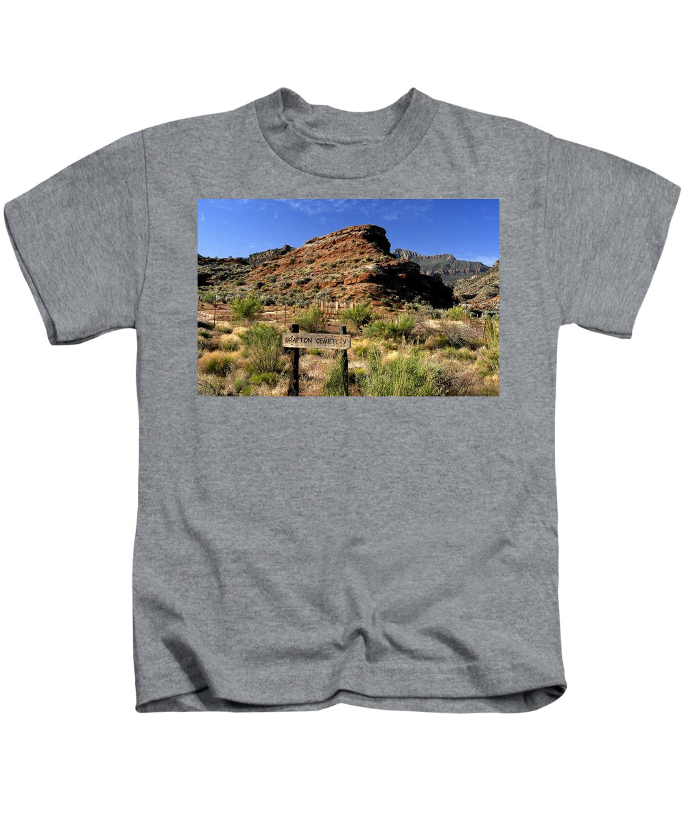 Grafton Utah Kids T-Shirt featuring the painting Grafton Cemetery by David Lee Thompson